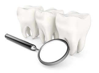 Teeth and dental mirror