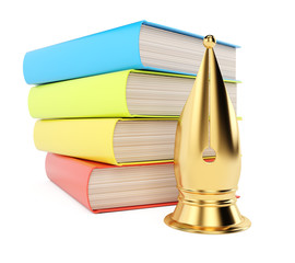 Stack of books and golden quill