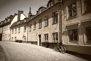 Stockholm, Sweden - Sodermalm. Sepia monochrome tone.