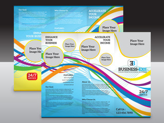 abstract colorful tri fold brochure template