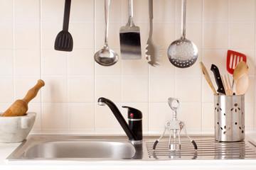 kitchen top with kitchen utensils