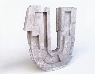 Stone Letter U in 3D