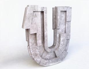 Stone Letter U in 3D