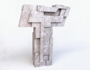 Stone Letter T in 3D