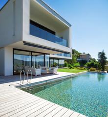 Pool and modern house