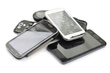 Pile of broken smart phones