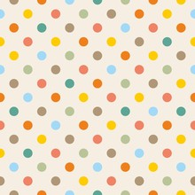 Tile vector pattern with pastel polka dots on beige background