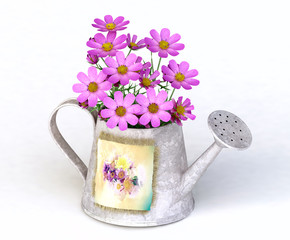 3d Pink Flowers in the Watering Can
