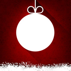 Christmas paper ball on red background.