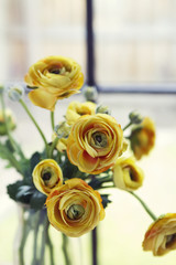 Close up of vintage yellow roses vertical