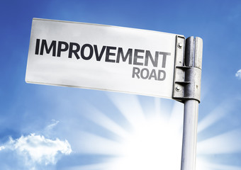 Improvement written on the road sign