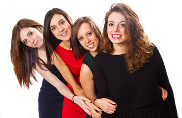 Group of girl friends isolated over a white background