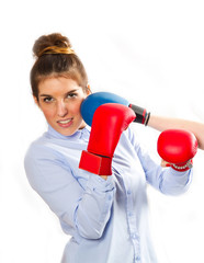 Businesswoman  Boxing on a white background