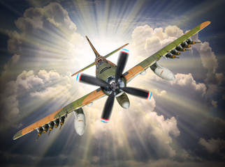 Old propeller fighter plane inbound from sun.