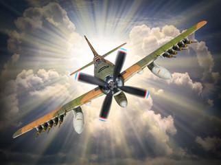 Old propeller fighter plane inbound from sun.