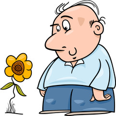 man with sunflower cartoon illustration