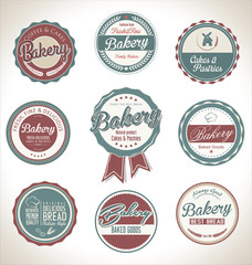 Bakery retro vintage labels collection