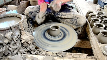 Mechanic pottery made earthenware at Koh Kret Island