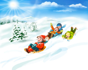Kids with sledges, snow - happy winter vacation