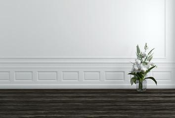 White Flowers in Vase in White Hallway
