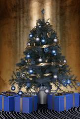 Beautiful blue themed Christmas tree