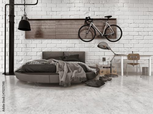 Leinwandbild Motiv Modern Loft Style Bedroom Furnishings
