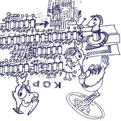Telefongekritzel mit Laufvogel und Kopierstempel