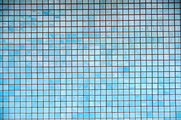 Background texture of blue mosaic tiles