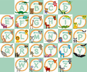 alphabet for kids from A to Z. Set of funny cartoon animals char
