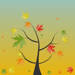 Shiny Autumn Natural Tree Background. Vector Illustration