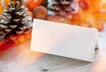 Blank Place Card with Pinecones and Autumn Foliage