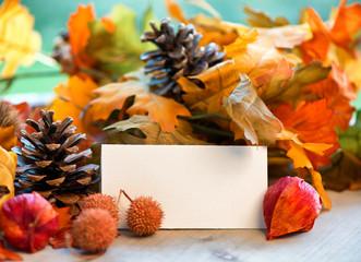 Blank Place Card Amongst Autumn Foliage