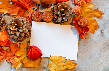 Blank Note Amongst Autumn Foliage