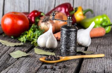 organic food background Vegetables pepper mill