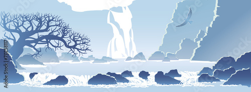 blue mountain landscape with a waterfall - 70258117