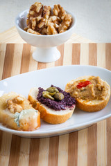 Assorted crostini, italian style appetizers