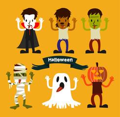 Halloween Character set. Halloween Party costume.  vector