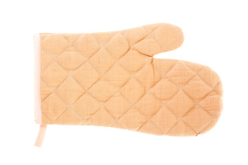 Brown oven mitt, cutout on white background