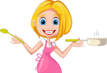 cartoon woman cooking