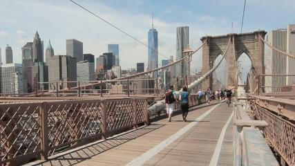 Brooklyn Bridge and New York City buildings skyline