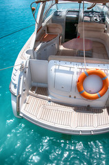 Landing deck on the back of a luxury motorboat