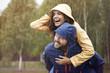 Leinwanddruck Bild - Happy time despite bad weather