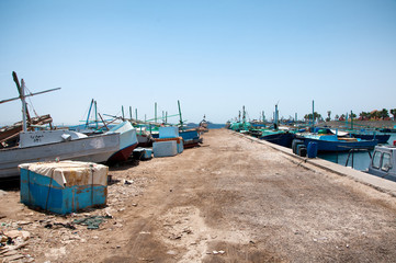 Boats Moored and Anchored in Hurghada Harbor