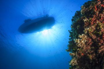 Boat above underwater reef