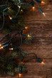 canvas print picture - Christmas. Fir with garland on the table
