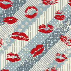 Grunge pattern in nautical style with imprints of lipstick
