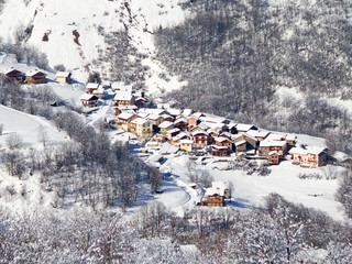 Village of Saint Martin de Bellevile in winter, the Alps, France