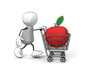 little sketchy man with shopping cart with big red apple