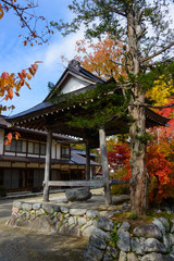 Historic Village of Shirakawa-go in autumn Akiba shrine
