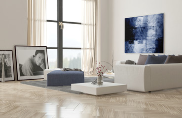 Living room interior with a herringbone floor